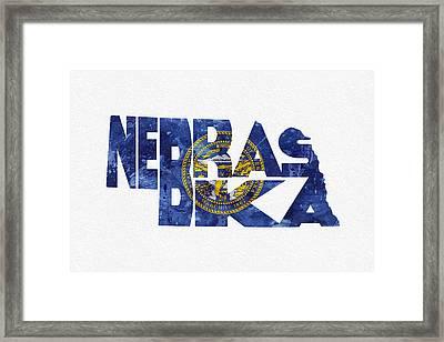 Nebraska Typographic Map Flag Framed Print by Ayse Deniz