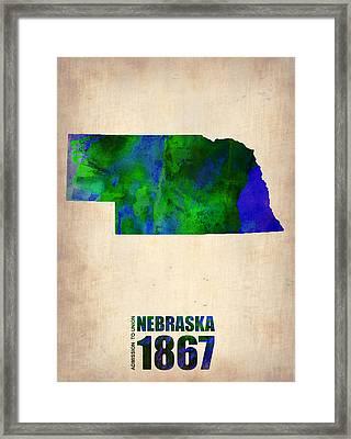 Nebraska Watercolor Map Framed Print by Naxart Studio
