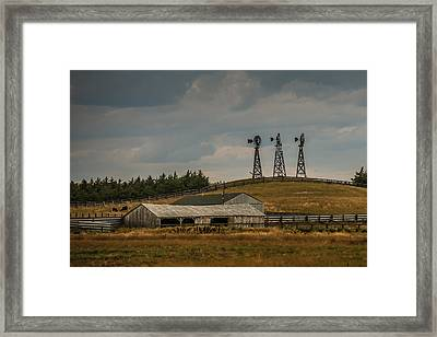 Nebraska Windmills Framed Print