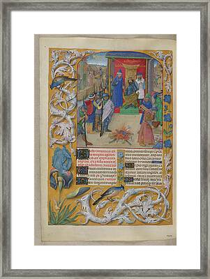 Nebuchadnezzar Burning The Books Framed Print by British Library
