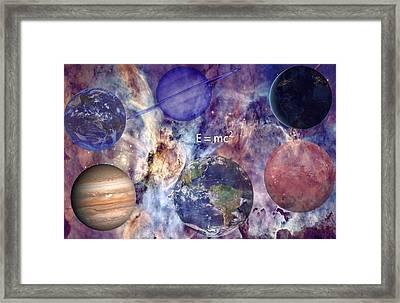 Nebula With Planets Framed Print