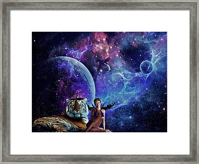 Nebulist Tiger Framed Print by Becca Buecher