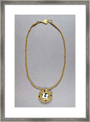Necklace With Cameo Pendant Unknown Roman Empire 250 - 400 Framed Print by Litz Collection