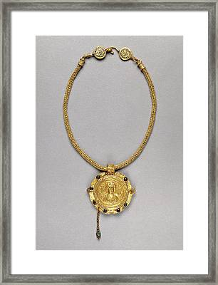 Necklace With Pendant Unknown Roman Empire 250 - 400 Gold Framed Print by Litz Collection