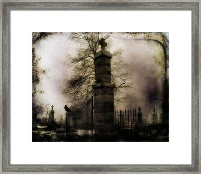 Necropolis Gate And Crow Framed Print by Gothicrow Images