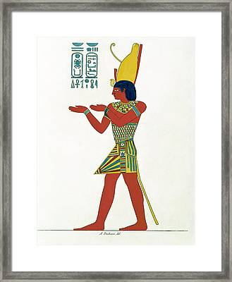 Nectanebo I 380-362 Bc Wearing The Double Crown Of Upper And Lower Egypt, From Monument De Legypte Framed Print by A. Duchesne