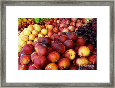 Framed Print featuring the photograph Nectarines At Rest by Vinnie Oakes