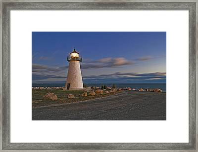 Neds Point Lighthouse In Evening Framed Print