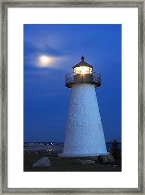 Neds Point Lighthouse Moon Mattapoisett Massachusetts Framed Print by John Burk