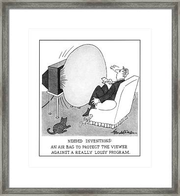 Needed Inventions: An Airbag To Protect Framed Print by J.B. Handelsman