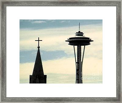Framed Print featuring the photograph Seattle Washington Space  Needle Steeple And Cross by Michael Hoard
