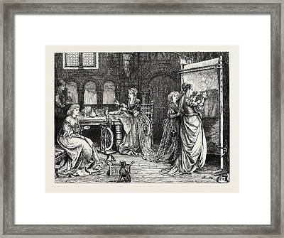Needlework In The Olden Time Ladies At Tapestry Work Framed Print