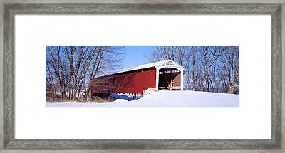 Neet Covered Bridge Parke Co In Usa Framed Print by Panoramic Images