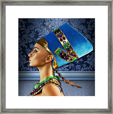 Framed Print featuring the digital art Nefertiti 2 by Karen Showell