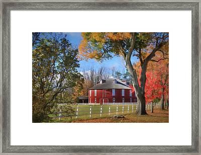 Neff Round Barn Framed Print by Lori Deiter