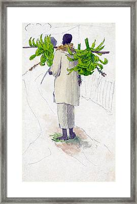 Negro Man Carrying Plantains On Pole Framed Print by William Berryman