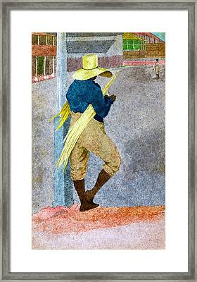 Negro Man Stripping Cane Jamaica Framed Print by William Berryman