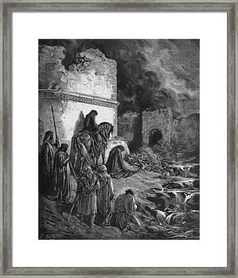 Nehemiah Views The Ruins Of Jerusalem Walls Framed Print