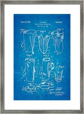 Neider Dual Person Mitten Glove Patent Art 1952 Blueprint Framed Print