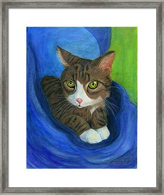 Framed Print featuring the painting Neighbor's Cat In Stroller by Jeanne Kay Juhos