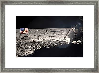 Neil Armstrong On The Moon - 1969 Framed Print by Mountain Dreams