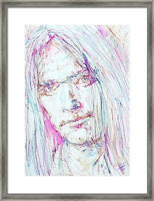 Neil Young - Colored Pens Portrait Framed Print by Fabrizio Cassetta
