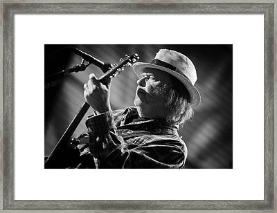 Neil Young In Black And White 2 Framed Print by Jennifer Rondinelli Reilly - Fine Art Photography