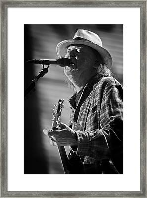 Neil Young On Guitar At Farm Aid 2010 Framed Print by Jennifer Rondinelli Reilly - Fine Art Photography