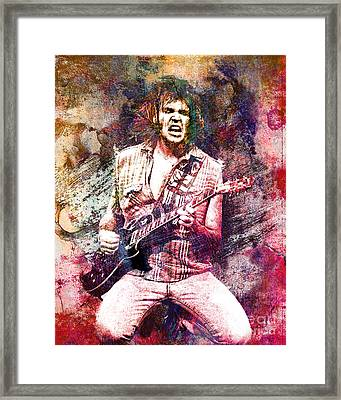 Neil Young Original Painting Print Framed Print by Ryan Rock Artist