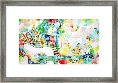 Neil Young Playing The Guitar - Watercolor Portrait.1 Framed Print by Fabrizio Cassetta