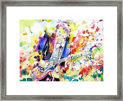 Neil Young Playing The Guitar - Watercolor Portrait.2 Framed Print