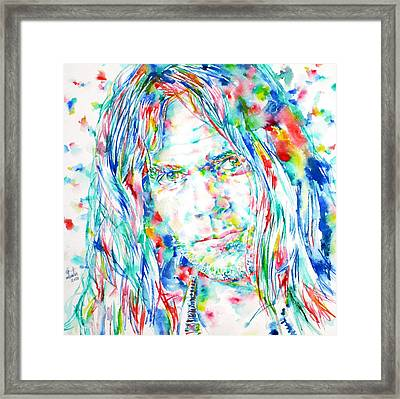 Neil Young - Watercolor Portrait Framed Print by Fabrizio Cassetta
