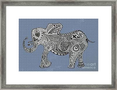 Nelly The Elephant Blue Bubbles Framed Print by Karen Larter