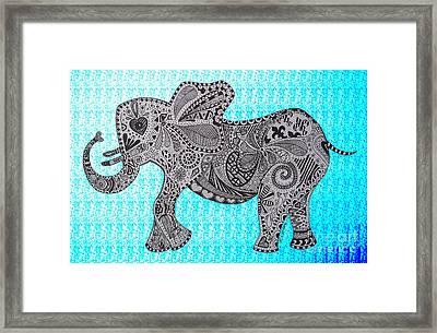 Nelly The Elephant Turquoise Framed Print by Karen Larter