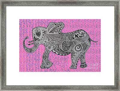 Nelly The Elephany Cycadelik Framed Print by Karen Larter