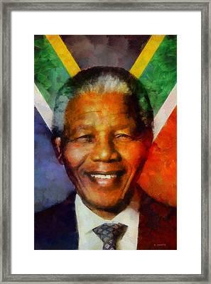 Framed Print featuring the digital art Nelson Mandela 1918-2013 by Kai Saarto