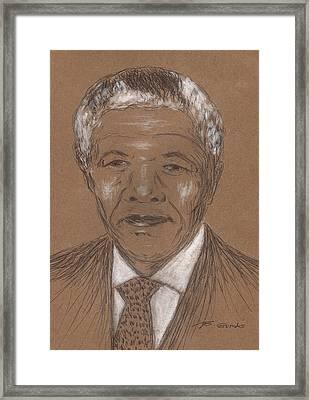 Nelson Mandela Framed Print by Bob Gumbs