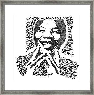 Nelson Mandela Framed Print by Carlos Santana Trott