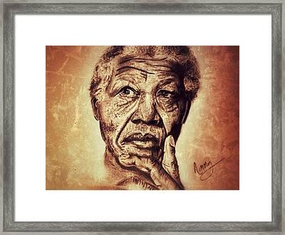 Nelson Mandela  Framed Print by Leanne Lewis