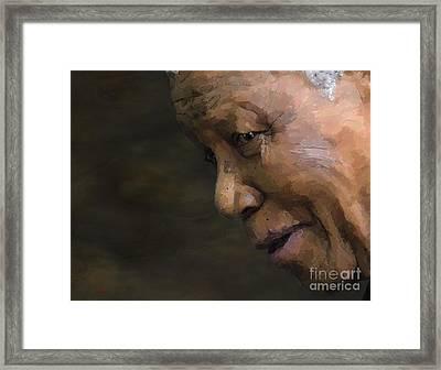 Nelson Mandela Framed Print by Les Allsopp
