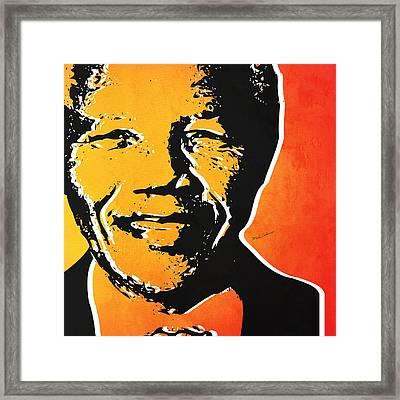 Nelson Mandela Framed Print by Mark Ashkenazi