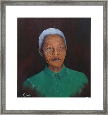 Nelson Mandela Framed Print by Roy Keeler