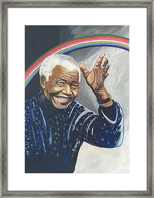 Nelson Mandela The Father Of The Rainbow Nation Framed Print