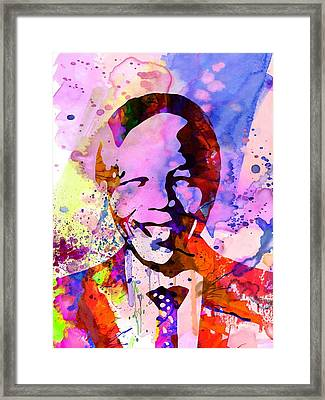 Nelson Mandela Watercolor Framed Print by Naxart Studio