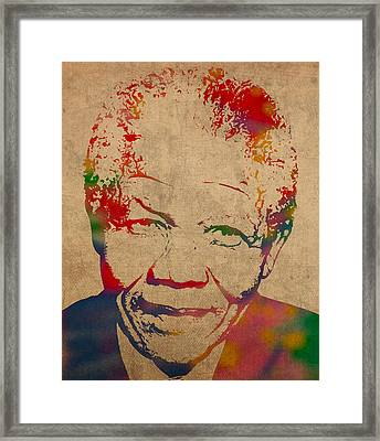 Nelson Mandela Watercolor Portrait On Worn Distressed Canvas Framed Print by Design Turnpike