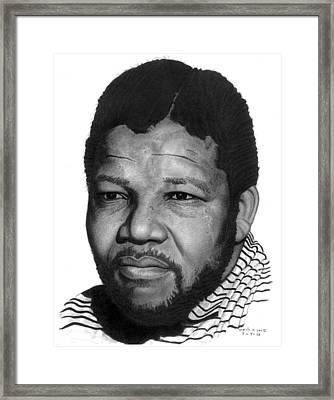 Nelson Mandella Framed Print by Marvin Lee