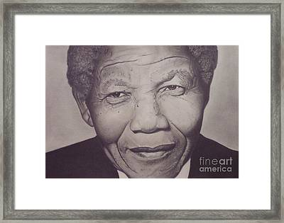 Framed Print featuring the drawing Nelson Mandela by Wil Golden