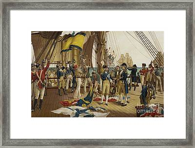 Nelsons Last Signal At Trafalgar Framed Print by English School
