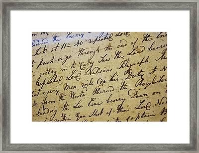 Nelson's Log Book Framed Print