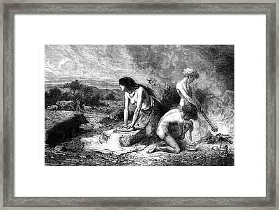 Neolithic Family Making Bread Framed Print